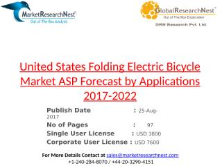 United States Folding Electric Bicycle Market ASP Forecast by Applications 2017-2022.pptx