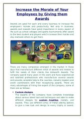 Increase the Morale of Your Employees by Giving them Awards.docx