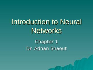 Introduction to Neural Networks - Chapter1.ppt