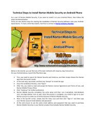 Technical Steps to Install Norton Mobile Security on Android Phone.pdf