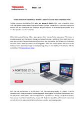 Toshiba Announces Availability of ultra fast Laptops in Dubai at Most Competitive Prices.pdf